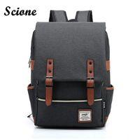 Wholesale business laptop backpacks for men - Wholesale- Fashion Men Daily Canvas Backpacks for Laptop Large Capacity Computer Bag Casual Student School Bagpacks Travel Rucksacks 1050tp