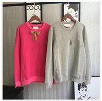Wholesale Lady Brand Cotton Sweatshirts - Brand Autumn spring Women hoodies Fashion Bowknot nail drill embroidery Long Sleeve Tops sweatshirt Lady Female Femme Sweatshirt