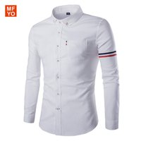 Wholesale Easy Fit Brands - Wholesale- 2016 New Brand Men's Casual Shirt Long Sleeve Easy Care Collarless Shirts Slim Fit Dress Shirt For Men Business chemise homme