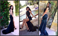 Wholesale Sexy Evening Dress Slit Halter - 2017 Sexy Black Halter Mermaid Long Evening Dresses Lace Sequins Beaded Backless Slit side Formal Prom Party Dresses