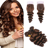 Chocolate Brown Color # 4 Loose Wave Hair Bundles Com Renda De Laço Indian Medium Brown Virgin Human Hair Tece Com Encerramento Superior