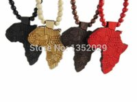 Wholesale Good Wood Africa - Wholesale-GOOD WOOD good wood jewelry wooden africa map pendant necklace Free Shipping