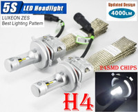 Wholesale Chip Beam - 1 Set H4 9003 HB2 50W 8000LM 5S LED Headlight Kit Auto Slim 24SMD LUXEON ZES LUMILED Chip All in One Fanless Aluminum Belt Driving Lamp Bulb