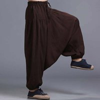Wholesale Yoga Pants Men Cotton - Men's Vintage Cotton Linen Hippy Boho Aladdin Harem Wide leg Ninja Pants Trousers Casual Nepal Mens Indian Aladdin YOGA Pants