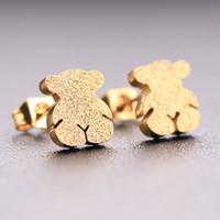 Wholesale Matte Earrings - TOU TOSO Fashion stainless steel black gold silver matte stud earrings for women brand jewelry cute bears
