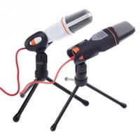 Wholesale Stereo Clip Microphone - Professional Wired Stereo condenser microphone With Holder Stand Clip For PC Chatting Singing Karaoke Laptop SF-666