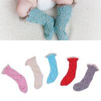 Wholesale Girls Lace Knee Socks - Baby Lace Crochet Boot Socks Knee-High Toddler Knitting Socks Boys Girls Autumn Winter Warm Children Clothing