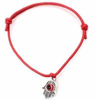 Wholesale Lucky Jade - 100pcs lot Hamsa Hand String Evil Eye Lucky Red wax Cord Adjustable Bracelet