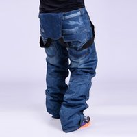 Wholesale Men S Snowboard Pants - Wholesale- 2017 brand new old-style suspenders thickened Denim pants for men Snowboard proof d 'windproof pants breathable water skiing