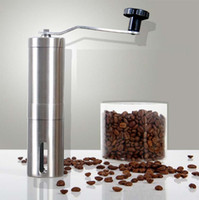Food Mills Metal ECO Friendly stainless steel Manual coffee grinder machine Ceramic Burr Washable Portable Hand Crank coffee maker bean mill coarse fine powder adjustable