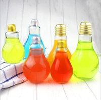 Wholesale Tea Light Glass Cups - 2 Size Creative Eye-catching Light Bulb Shape Tea Fruit Juice Drink Bottle Cup Plant Flower Glass Vase Home Office Desk Decoration YYA146