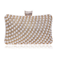Wholesale ivory pearl clutch - Wholesale-Hot Selling Women Handbags Beaded Rhinestones Purse Evening Bags Messenger Lady Pearl Diamonds Clutches Bags