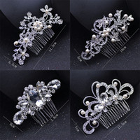 Wholesale crown tiara hair combs - Fashion Bridal Wedding Tiaras Stunning Fine Comb Bridal Jewelry Accessories Crystal Pearl Hair Brush