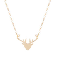 Wholesale Gold Deer Head Necklace - 10pcs lot Trendy Chic Charming Silver Gold Deer Head Long Necklaces Women Cute Animal Pendant Statement Jewelry Christmas Gifts