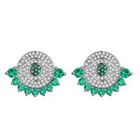 Wholesale Turquoise Earrings For Women - KIVN Fashion Jewelry Spiritual Evil Eye Pave CZ Cubic Zirconia Bridal Wedding Stud Earrings for Women