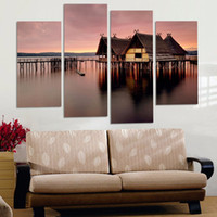 Wholesale Oil Canvas House - Wholesale New 4 PCS sets of sea view house Wall Painting sunset beautiful seascape pictures Unframed for home Decoration free shipping
