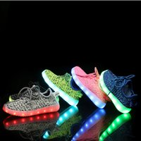 Wholesale Cotton Gray Fabrics Party - 2017 kids LED Shoes light colorful Flashing Shoes with USB Charge Unisex Fluorescent light up Shoe Party and Sport Casual Shoes 0101148