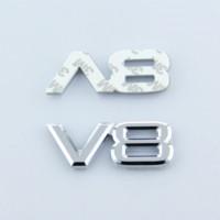 Wholesale Engine Decals - Metal 3D V8 Engine Displacement Car Badge V8 Emblem Logo Sticker V8 Auto Car Decal Badge Styling