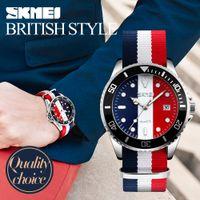 Wholesale Digital Watch Colour - SKMEI Lovers Watches Men And Women Fashion Casual Watch Nylon Strap 30M Waterproof Multiple Colour Quartz Wristwatches 9133