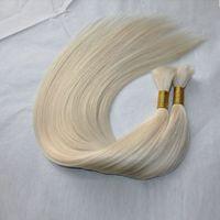 Wholesale Hair Extensions Bulk Blonde - 100g bundle 3bundles lot Brazilian pure Blonde White Natural Black Hair Extensions 100% Human Hair Bulk
