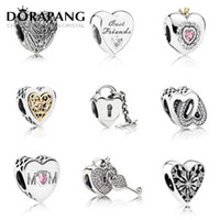 Wholesale Red Heart Wings Charm - DORAPANG Wholesale 925 Sterling Silver Wings Feather Hearts Love European Charms Beads Fit Pandora Snake Chain Bracelet DIY Fashion Jewelry
