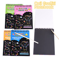 Atacado- Kawaii Coil Graffiti Notebook Magic Drawing Board Sketchbook Papel Crianças aprendendo Scraping Pintura Doodle Scratch Toy Supplies