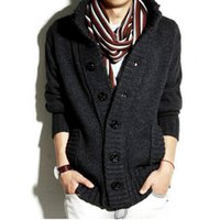 Wholesale long pocket knitted cardigan resale online - New Winter Spring Sweater Men Thick Cotton Full Sleeves Mandarin Collar Solid Cardigans Mens Outwear Button Sweaters