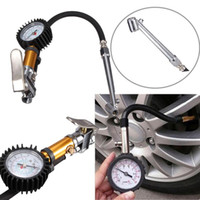 Wholesale Motorcycle Tire Inflator - Auto Car Truck Motorcycle Pistol Flexible Hose 220 PSI Tire Pressure Gauge Air Inflator Gun free shipping