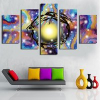 Wholesale Simple Abstract Paintings Canvas - Hot Sell 5 panel Bright light Large Picture Modern attractive room decoration modern simple new Chinese painting