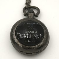 Wholesale-Fashion Death Note Pocket Watch Collier Femme Cartoon Black Fob Montres Round Convex Lens Glass Photo Girl Cute Lady New Hot