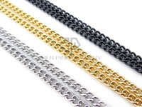 Wholesale chain 4mm - Free shipping steel color, gold color, black color 4mm cubin chain stainless steel with lobster clasp cubin chain 65cm+5cm extra chain