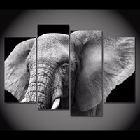 Wholesale Elephant Oil Canvas Painting - 4 Pcs Set Framed HD Printed Black White Elephant Tusks Ear Picture Wall Art Canvas Print Decor Poster Canvas Modern Oil Painting