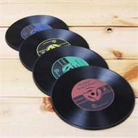 Wholesale Vinyl Mat Record - Wholesale- 4 Pcs set Retro Vinyl CD Record Drinks Coasters Table Cup Mat Coffee Placemat Silicone Printed Pattern Anti-fade Home Decor