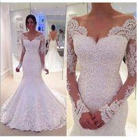 Wholesale Long Backless Mermaid Wedding Dresses - 2017 Elegant Long Sleeve Mermaid Lace Off-the-Shoulder Wedding Dresses Backless Bridal Gowns V Neck