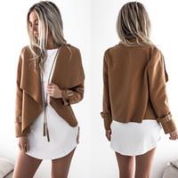 Wholesale Woolen Ladies Jackets - New Fashion Women Jacket 2017 Turn-down Collar Long Sleeve Cardigan Woolen Coat Ladies Basic Jackets Autumn Winter Outwear FS3069