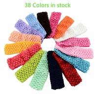 "Wholesale Wide Crochet Elastic - Baby Girls 4CM Wide Nylon crochet headband Children baby DIY soft Elastic band girls Kids 1.57"" Headbands High quality 38 Colors KHA57"