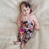 Wholesale Baby Sweater Sets - 2017 new designs baby autumn winter clothes sets infant toddlers long sleeve hooded sweater with floral long pants 2pcs sets