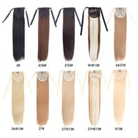 Wholesale medium long straight hair online - Alileader Synthetic Ponytail Long Straight Hair quot quot Clip Ponytail Hair Extension Blonde Brown Ombre Hair Tail With Drawstring