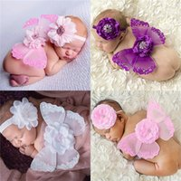 Wholesale Newborn Baby Photography Sets - 8styles Newborns Baby photo photography props costumes 2pc set baby flower headband mini butterfly wings 18*14cm