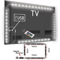 retroiluminación de pantalla led al por mayor-Venta al por mayor: USB alimentado RGB Cambio de color 5050 LED Lámpara de tira Computadora TV Retroiluminación USB Luz Kit Pantalla TV LCD PC de escritorio 2 * 100cm + 2 * 50cm