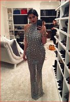 Wholesale Kardashian Bodycon - Evening dress Yousef aljasmi Labourjoisie Charbelzoe Sheath Crystals High neck Long dress Off shoulder Crystals Kim kardashian Zuhair murad
