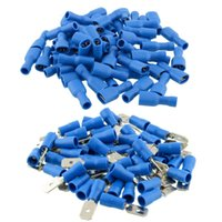 Wholesale Crimp Cable Connectors - car 100x Blue Insulated Spade Electrical Crimp Wire Cable Connector Terminal Kit