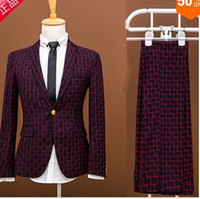 Wholesale Men Coats Checked - Wholesale- The new 2016 men checked Blazer coat suits the leisure Cultivate one's morality and groom wedding dress