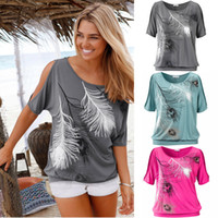 Wholesale Girls Floral T Shirt - Women Casual Summer Cold Shoulder T-shirt Girl Feather Loose Tops Plus Size S-5XL Short Slit Sleeve