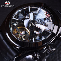 Wholesale 3d Mens Fashion Glasses - Forsining Legend Tourbillion Series Full Black Mysterious Design Genuine 3D Convex Glass Mens Watch Brand Luxury Automatic Mechanical Watch