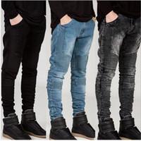 Wholesale Denim Capris For Men - Wholesale-2016 Mens Skinny jeans men Runway Distressed slim elastic jeans denim Biker jeans hiphop pants Washed black jeans for men