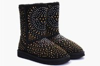 Wholesale Boot Toe Cap - Fashion designer brand rivets snow boots Winter warm boots women Diamond snow boots