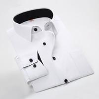 Wholesale Slim Fit Work Shirts Black - Wholesale- 2016 New Arrival Designers Men Long Sleeve Slim Fit Dress shirts Man Formal Black Shirts High Quality Male Career Work shirts