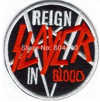 Patches blood tshirt - 2 quot SLAYER REIGN IN BLOOD Music Band Iron On Sew On Patch Tshirt TRANSFER MOTIF APPLIQUE Rock Punk Badge