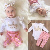 Wholesale Infant Lace Tops - 2PCS Baby Girls Suits Lace Long Sleeve Tops Bodysuit Golden Dot Pants Clothes Sets Baby Love Lovely Printed Infant Toddler Infant Clothing